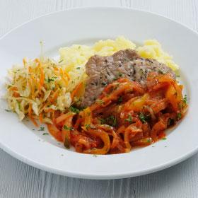 Свинина с соусом Лечо и картофельным пюре