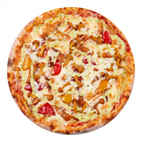 Пицца с курицей барбекю и опятами